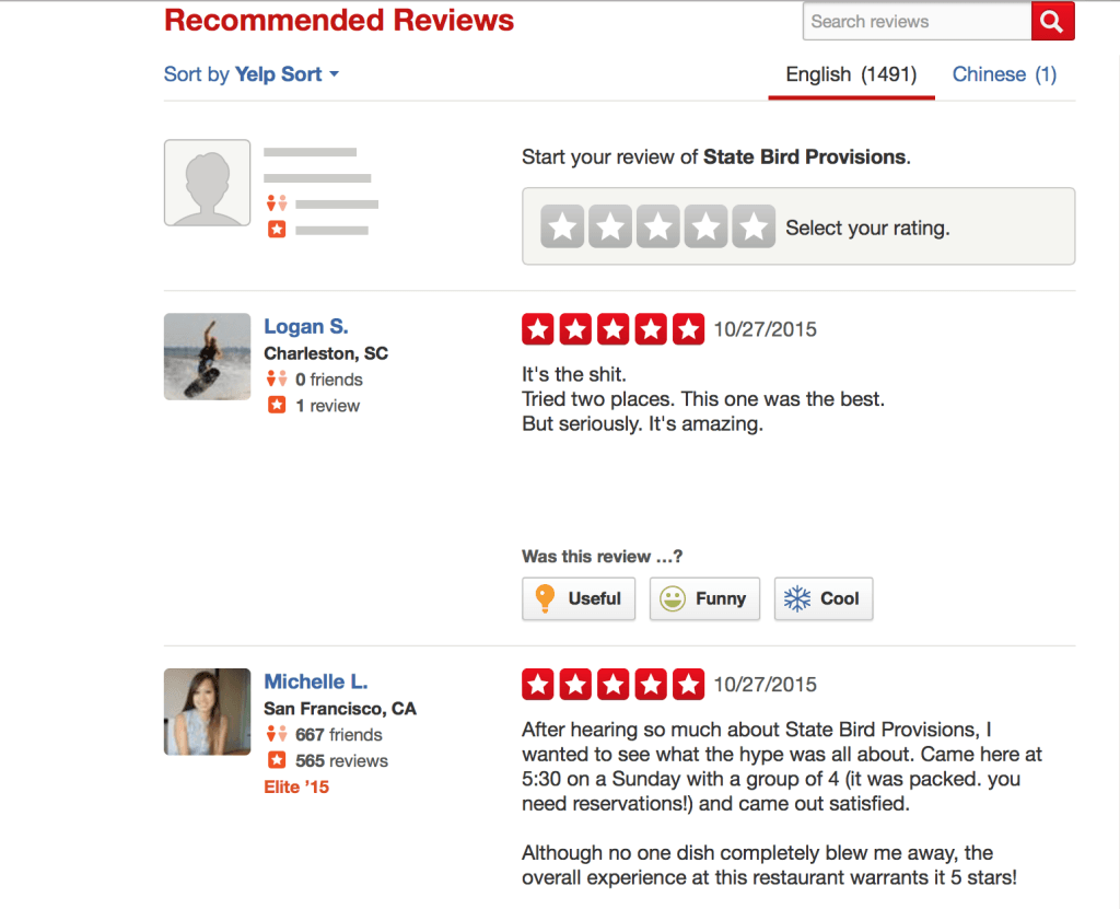 Yelp Recommended Reviews for State Bird Provisions