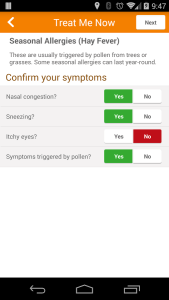 Screenshot of app interface that allows physician to diagnose and prescribe for standard conditions such as hay fever