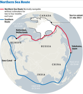 From Europe to Asia: Northern Sea Route and the current Southern Sea Route