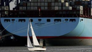 """Source: """"How Much Bigger can Container Ships Get,"""" http://www.bbc.com/news/magazine-21432226"""