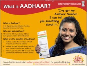 Details about Aadhar being publicized through newspaper advertisements