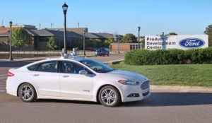 A hybrid Ford Fusion converted for autonomous vehicle testing.
