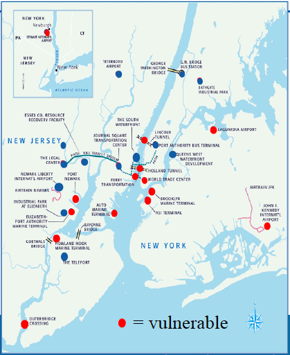 Figure 1: Schematic showing PANYNJ locations (red = vulnerable locations)
