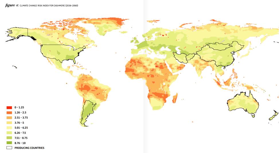 Desertification Risk for Cashmere (Darker Green = Higher Risk)
