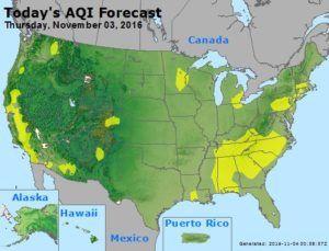 Figure 6: November 3rd, 2016 AQI Forecast [12]