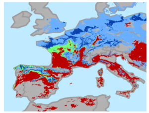 Exhibit 1: Global change in viticulture suitability in Europe under RCP 8.5 scenario. Change in suitability is shown between current (1961-2000) and 2050 (2041-2060) time periods. Areas with current suitability that decreases by mid-century are indicated in red. Areas with current suitability that is retained are indicated in light green and drak green, whereas areas not suitable in the current time period but that will be suitable in the future are shown in light blue and dark blue.