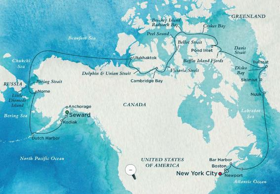 Voyage 7320: The Northwest Passage - Cruise Route