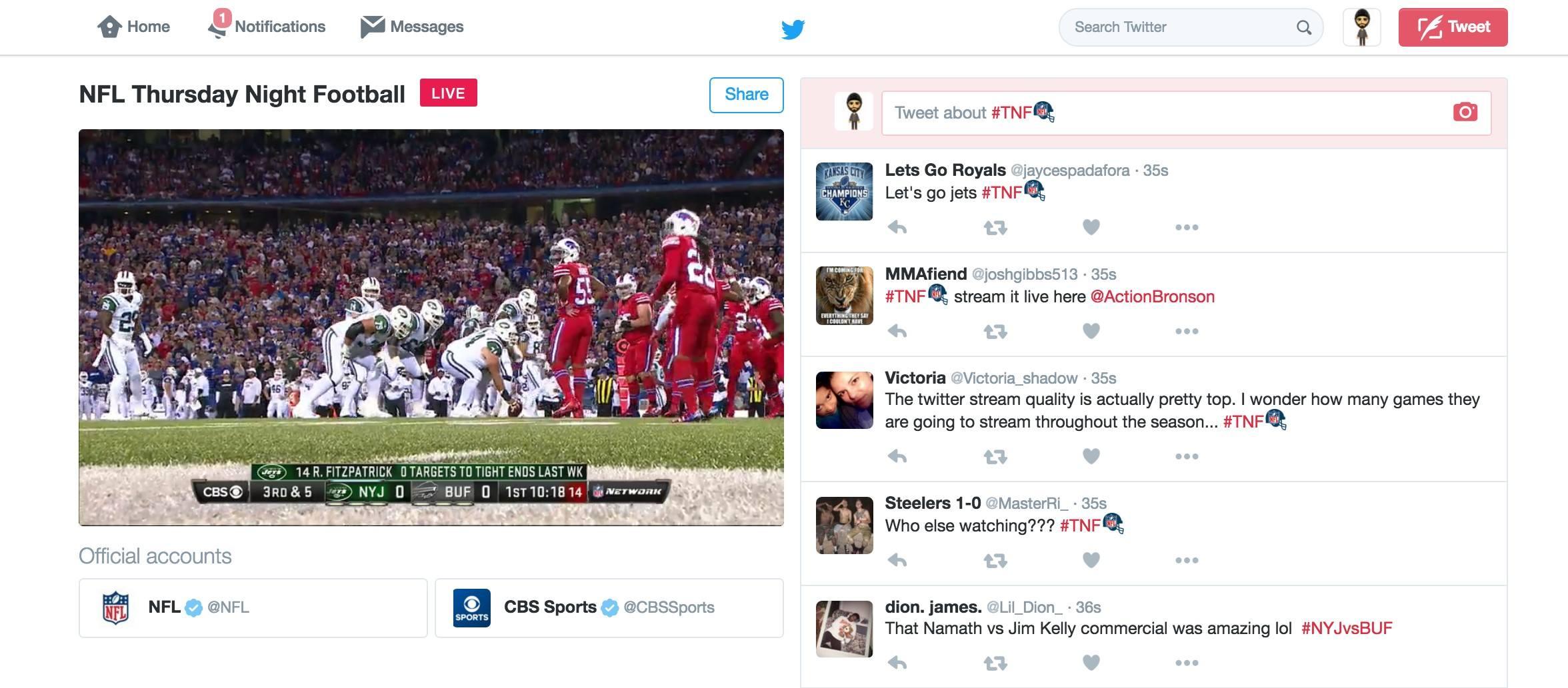 Screenshot of first NFL Twitter livestream