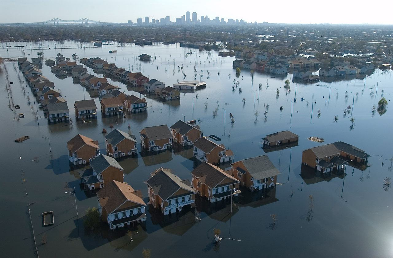 Houses flooded by Hurricane Katrina with the city in the background, New Orleans, United States.
