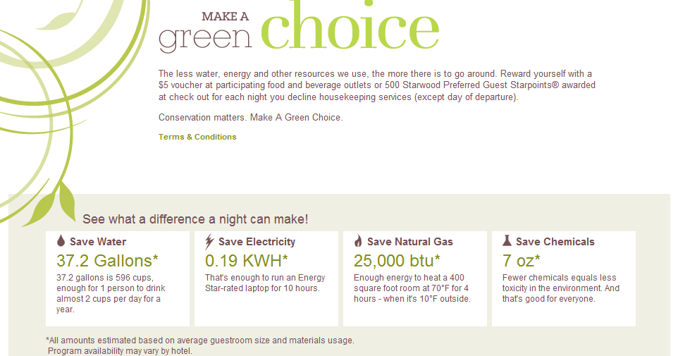Make a green choice webpage snapshot. Source: Sheraton website