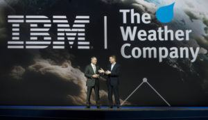 IBM Senior Vice President Bob Picciano, left, joins The Weather Company Chairman and CEO David Kenny as they announce IBM's acquisition of TWC. Source: http://fortune.com/2015/10/30/ibm-weather-channel-2/