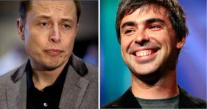 Tesla CEO Elon Musk (L) and Alphabet CEO Larry Page (R) are close friends