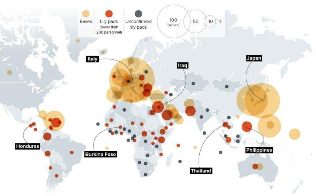U.S. military bases. Source: 5W Infographics.