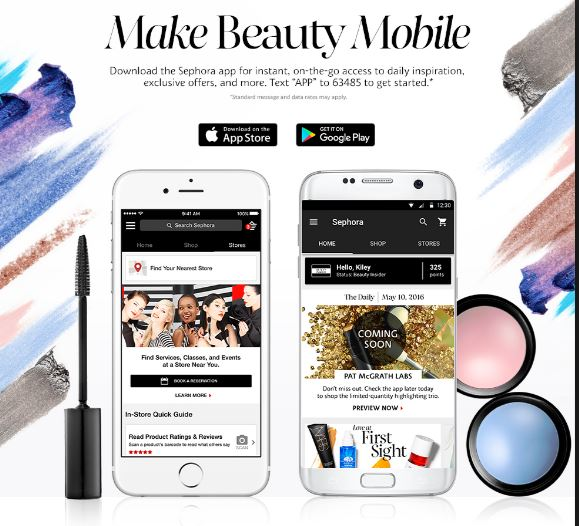 Example of Sephora's mobile app.