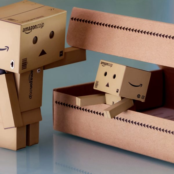 Tiny Amazon robot boxes
