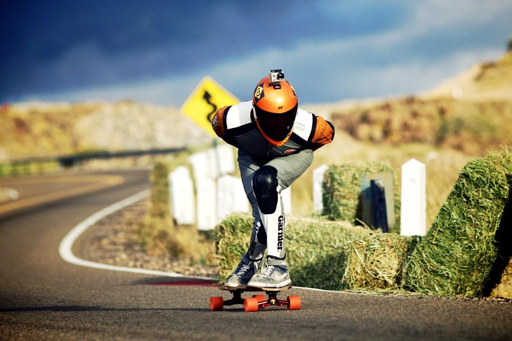 skating downhill
