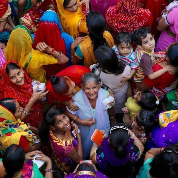 Overhead shot of women and children in India