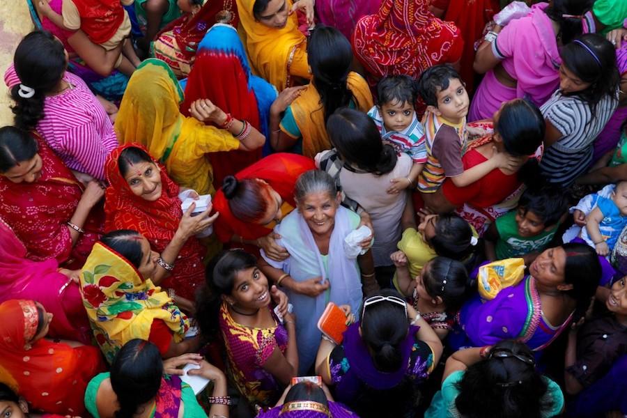 Overhead shot of women and children in India
