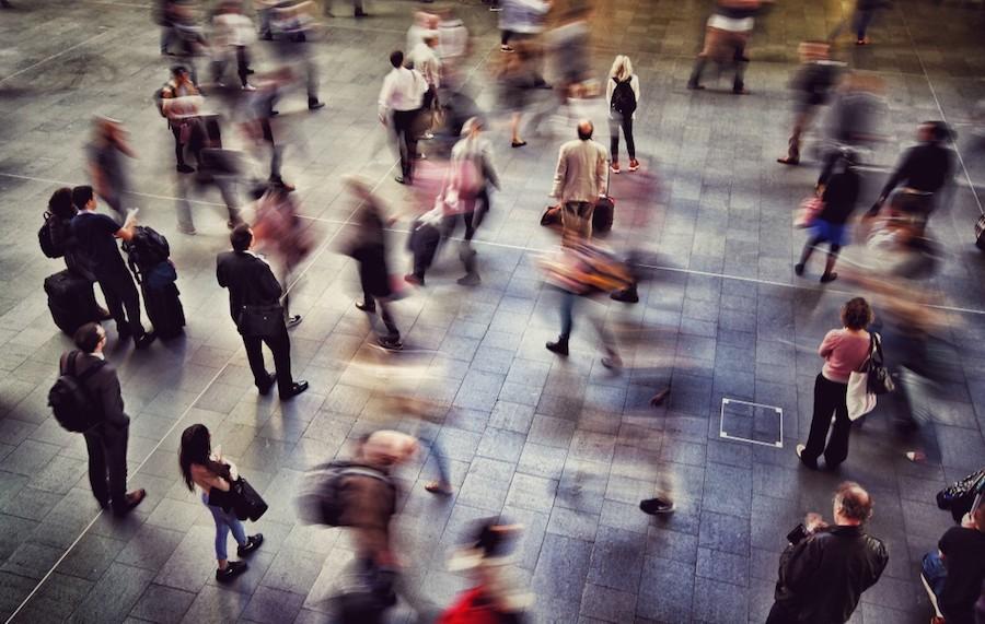 People rushing around