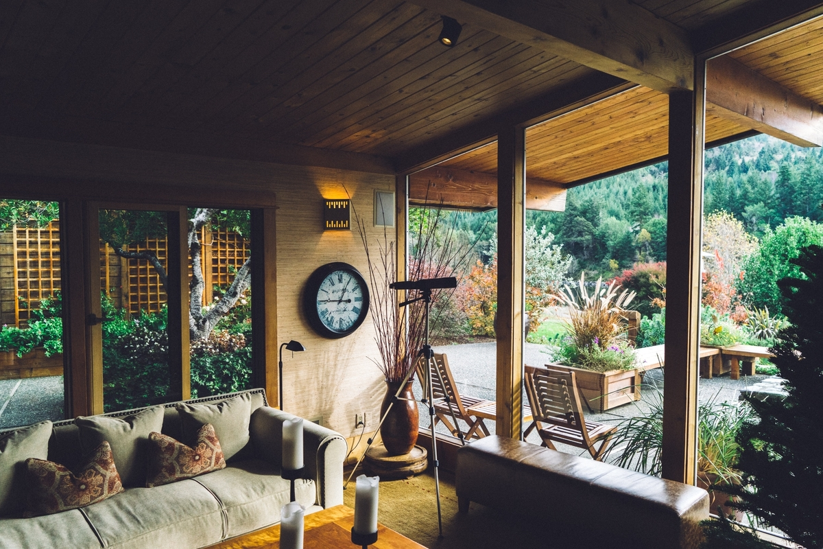Interior of a window-filled airbnb