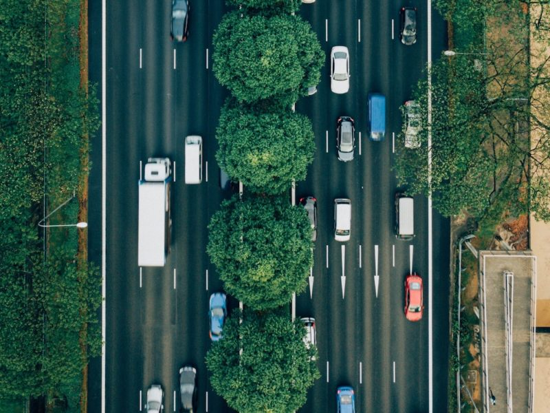 Cars on a highway